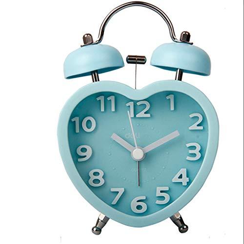 YULAN Despertador Lindo Estéreo Doble Campana Mute Electrónico Simple multifunción Moda Cama Personalidad Creativa 4 Colores Opcional 9 CM * 12.5 CM (Color : Blue)