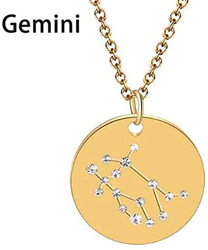 ZGYFJCH Co.,ltd Collar Géminis Libra Astrología Zodiaco Collar Mujeres 12 Constelación Estrella Joyería Horóscopo Signo Collar
