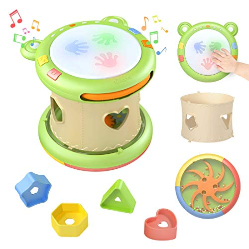 TUMAMA Jouet Musical Bébé,Tambour Musical Jouet Interactif, Jeux Centres d'activités pour Enfants,Jouets Musicaux D'éveil,Jouet éducatif précoce Instruments de Musique Cadeau pour Les Enfants
