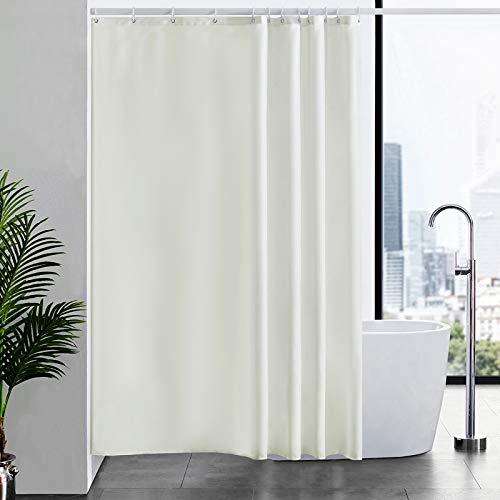 Furlinic Duschvorhang Überlänge aus Stoff, Badvorhang Anti-schimmel und Waschbar, Textile Vorhänge in Badezimmer für Badewanne und Dusche,Beige Duschvorhänge 180x210 mit 12 Duschvorhangringe.