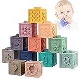 Sunarrive Weich Baby Bausteine - Motorikspielzeug Stapelwürfel Bauklötze - Babyspielzeug Stapelspiel - Montessori Sensorik Spielzeug Beißring Badespielzeug für Kleinkind ab 6 9 12 Monate 1 Jahre