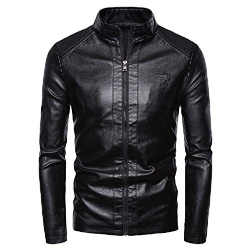 Men's Long Sleeve Leather Jacket,Clearance!! Males Solid Zipper Slim Fit Casual Coat Plus Size Outwear Tops