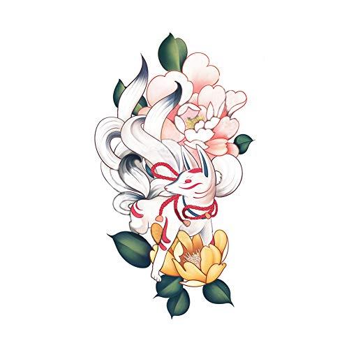 2 feuilles de style japonais renard à neuf queues autocollants de tatouage temporaire Cosplay Costumee partie couvrant les cicatrices