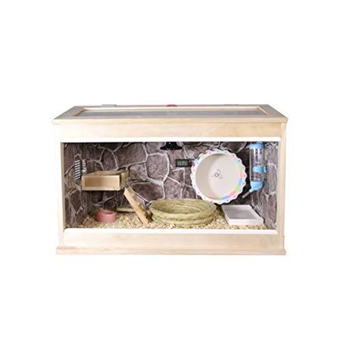 Jaula para mascotas de madera maciza, hámster, erizo, cobaya, caja de cría...