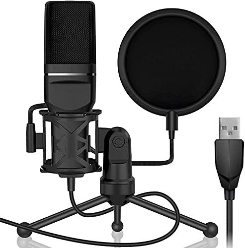 ROM Kit de micrófono USB, con Tarjeta de Sonido, Soporte de Escritorio, Soporte de Choque, Filtro Pop para Skype Youtuber