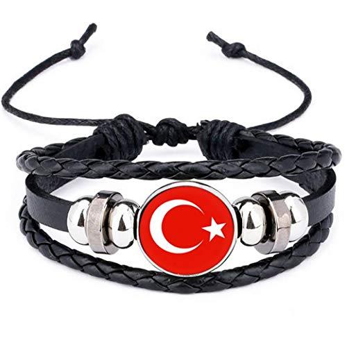 2018 Bandera Nacional de Turquía Encanto de la Pulsera de los brazaletes de Cuero Trenzado, Banderas de fútbol del Equipo Muñequera Mano Pulsera de la Venda