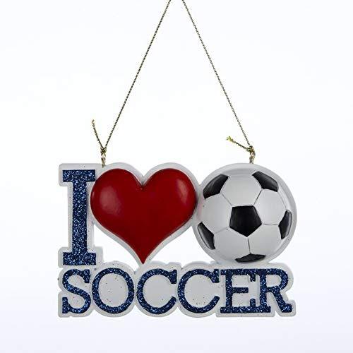 Kurt Adler I Love Heart Soccer Glitter Christmas Ornament