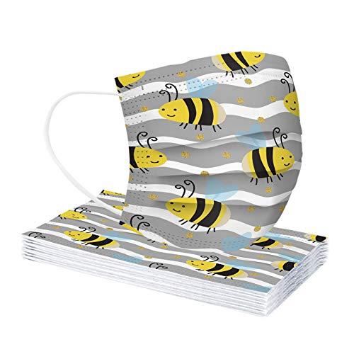 Rabbiter 10-100 Stück Erwachsene Einmal-Mundschutz mit Motiv Bunt MNS Mund-Nasenschutz Cartoon Bienen Druck Maske Tücher Atmungsaktiv Multifunktionstuch Bandana Halstuch Schals