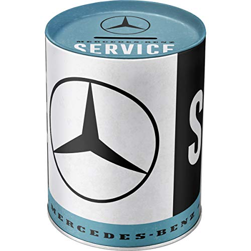 Nostalgic-Art Retro Spardose Mercedes-Benz Service, Geschenk-Idee für Auto Accessoires Fans, Sparschwein aus Metall, Vintage Blech-Sparbüchse, 1 l