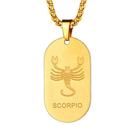 FaithHeart Dog Tag Kette anhänger Skorpion Kette Sternzeichen Anhänger Herren Sternbild Halskette