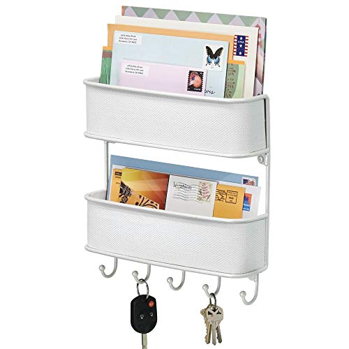 mDesign Wall Mount Metal Woven Mail Organizer Storage Basket - 2 Tiers 6 Hooks - for Entryway Mudroom Hallway Kitchen Office - Holds Letters Magazines Coats Leashes Keys - White