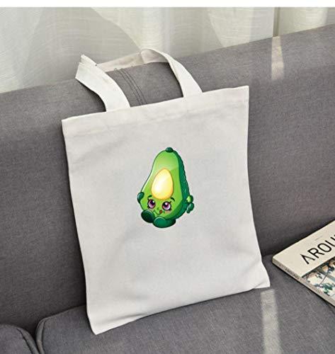 Zshhy Wiederverwendbare Einkaufstasche Mit Hübschen Avocado-Print Damen Eco-Print Canvas-Taschen Cartoon-Einkaufstasche-A_35X40Cm