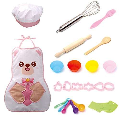 Complete Kids Cooking and Baking Set-24 Pcs Kids Chef Role Play for Little Girls Includes Apron, Chef Hat, Utensil, Cake Cutter, Silicone Cupcake Moulds for Toddler Dress Up Ages 2-6 Little Kids Gift