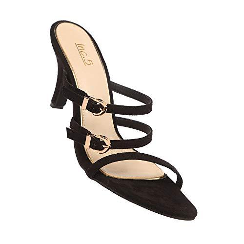 Inc.5 Women's Sandal Black Wheeled Heel Shoe (100400)