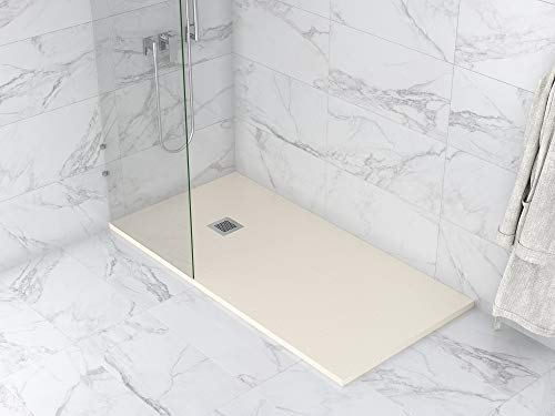 MASAL TECH DESING - Plato de ducha, textura PIZARRA BEIGE 70x140 cm, antideslizante y de fácil colocación.