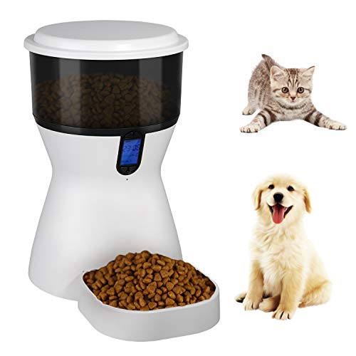 4L Pet Automatic Food Feeder for Dog Cat, Electric Smart Dog Cat Food Bowl, Pet Food Dispenser for Dog Cat With Programmable Timer & Voice Recorder, Scheduled Feeding for Dog, Cat, Puppy, Kitten