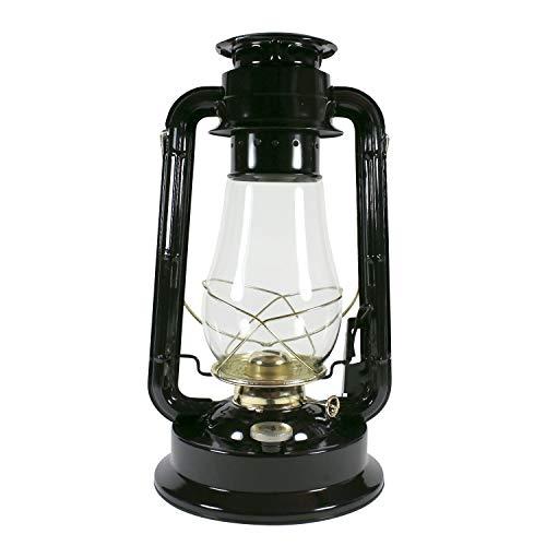 Heinze Petroleumlampe Garden, Grosse Sturmlaterne aus Schweden, schwarz, mit Messingelementen, Höhe 38 cm, Einfülldeckel mit Kindersicherung,Leuchtdauer ca. 29 Std.