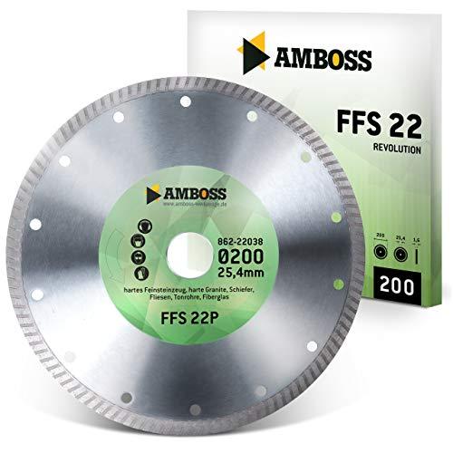 Amboss FFS 22 - Diamant-Trennscheibe Ø 200 mm x 25,4 mm - Hartes Feinsteinzeug (bis 1,2 cm) / harte Granite/Schiefer/Fliesen/Tonrohre/Fiberglas   Segmenthöhe: 7 mm
