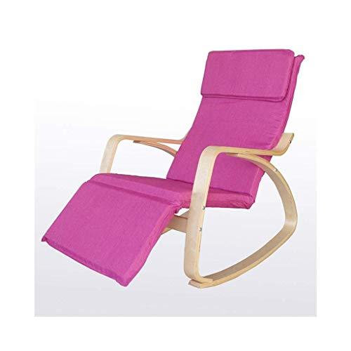 COLiJOL Loungesessel, Freizeitsessel, Nickerchenstühle, Nordic Massivholz-Liegestühle (Farbe: Schwarz),Rosa