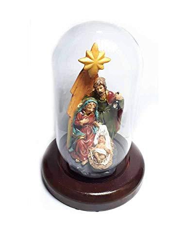Generisch erhalten 3 Stück Krippe komplett aus Glocke Glas Art. 1 13 x 6,5 cm Basis Holz d. 10 cm nativ, Kunstharz, Maria Josef, gesu, Figuren aus Krippe