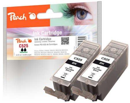 Peach Doppelpack Tintenpatronen schwarz  kompatibel zu Canon PGI-525