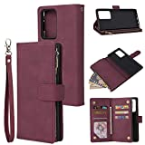 Teléfono Flip Funda Shell Caja de la billetera para Samsung Galaxy Note20 Ultra, Premium Soft PU Cuero con cremallera de cuero Flip Folio Wallet con tarjeta de la tarjeta de la correa de la muñeca Caj