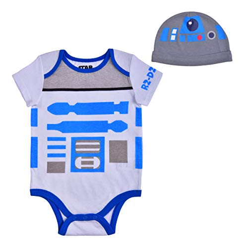 Star Wars Short Sleeve Creeper with Cap, R2D2 Droid Baby,Robot Romper Set, Size 3M