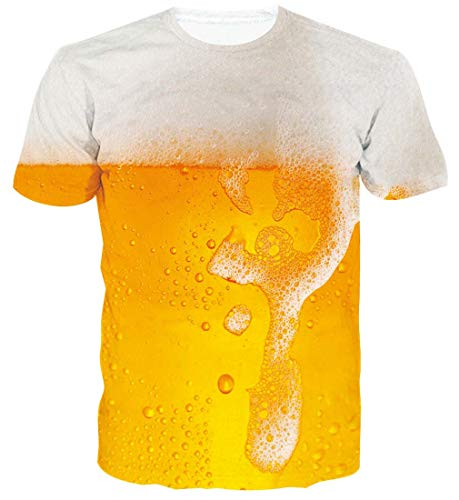 Spreadhoodie Hombres Camiseta 3D Cerveza Patrones Impresos O-Cuello Manga Corta Camiseta Divertidas Galaxia T Shirt Tops M