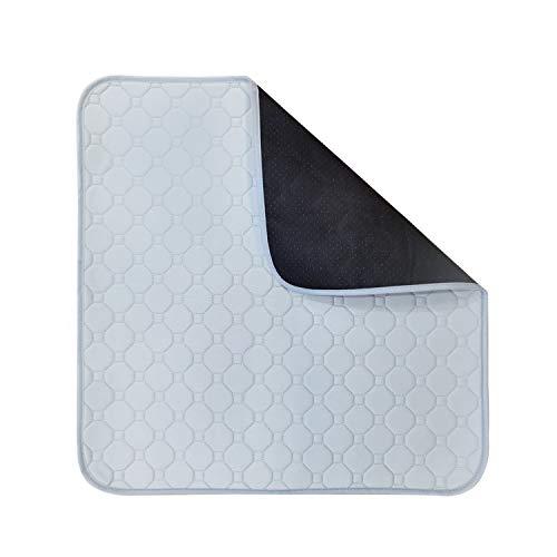 Cojín absorbente para incontinencia, lavable, 51 x 56 cm, con antideslizante en la parte posterior, para sofá, silla de ruedas, asiento de coche (gris)