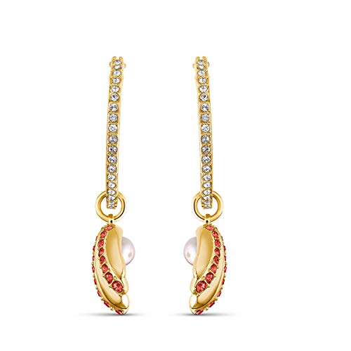 Swarovski Women's Shell Pearl Earrings, Pierced Hoop Earrings with Crystals, Gold-tone Plated, from the Amazon Exclusive Swarovski Shell Collection