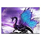 DIY 5D Diamond Painting Kits for Adults,3/4 Drill Embroidery Paint with Diamond for Home Wall Decor - Purple Flying Dragon - 16x12inch