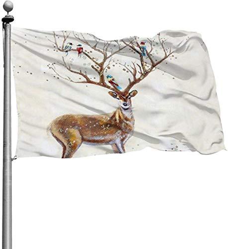 N/A USA-Guard-Flagge, Banner Willkommensflaggen, nordischer Hirsch, Sommer, Premium-Qualität, Hof, für Haus, Terrasse, Sport, dekorativ, 90 x 150 cm