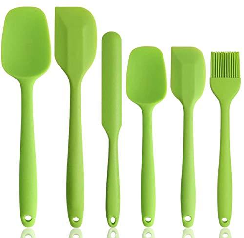 HK5G 6 Silikon Spatel Hitzebeständig bis 500°F BPA Frei Silikon Teigschaber mit Metallkern, Nicht-Stick und Nahtloses Einteiliges Design zum Backen oder Kochen (Grün)