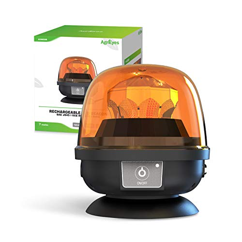 AgriEyes Magnetic Beacon Light Wireless, Class 2 Portable 12-24V Rotating Warning Lights, Rechargeable Amber Flashing Safety Strobe Lights for Vehicles Trailers Trucks Tractor Bus Forklift Cars