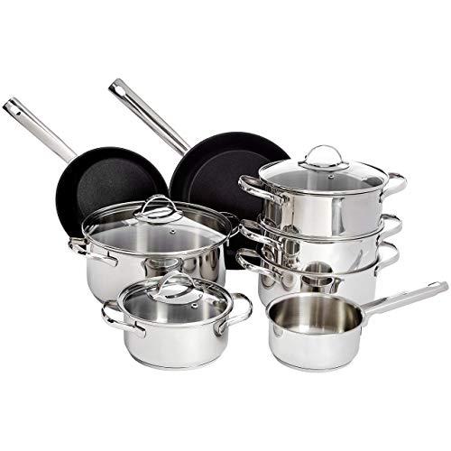 AmazonBasics Juego de utensilios de cocina de acero inoxidable, sartenes y ollas para cocina de inducción, ollas con tapa, 11 piezas