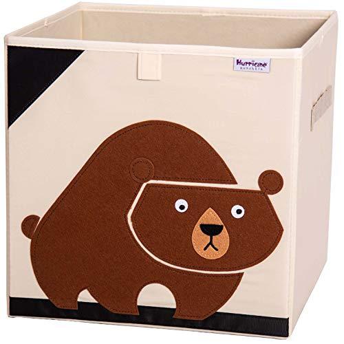 Hurricane Munchkin 13 inch Animal Cube Storage Bin. Soft Fabric Animal Toy Storage Box for Cube Organizers. Forest Woodland Kids Storage Cubes for Toddlers, Girls, Boys, Nursery & Playroom (Bear)