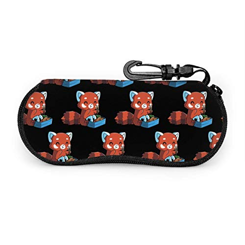 AOOEDM Eyeglass Case, Protective Case for Glasses and Sunglasses, Red Panda Eating Ramen