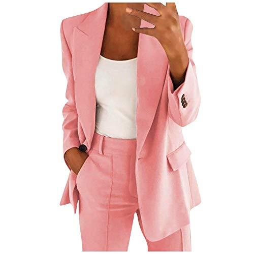 Zldhxyf Elegante blazer de manga larga para mujer, para otoño e invierno, monocolor, para negocios, ajustado, tipo bolero, para oficina, traje, ajustado, solapa, Rosa., L