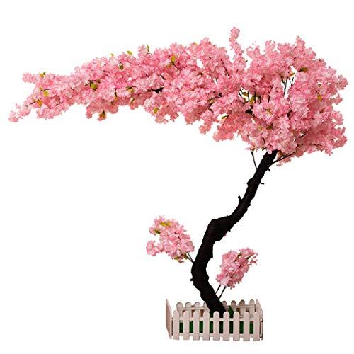BOWCORE 150cm Gran árbol de la Flor Artificial Casi Natural árbol del Cerezo Rosa Cubierta de Madera Maciza Falso Paisaje del árbol de melocotón Planta de la Ventana Decoración