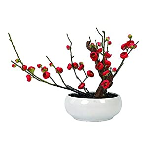 NYKK Decoration Silicone Material Artificial Plant Floral Bonsai Simplicity Fake Flower Bonsai Suitable for Living Room Hotel Display with Ceramic Flower Pot Table Centrepieces