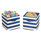 mDesign Juego de 2 cajas organizadoras para guardar juguetes – Cestas de tela...