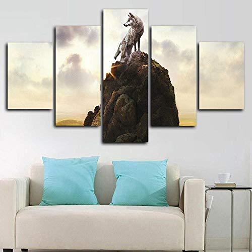 Impresión de Imagen 5 Piezas Cuadro en Lienzo Colina Animal Lobo Solitario Lienzo Impreso, Cuadro ArtíStico para Pared, DecoracióN De HabitacióN para NiñOs, Pintura, Mural,
