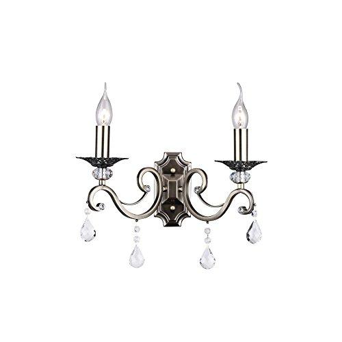 Elegante Wandleuchte, aus bronzefarbenem Metall mit Kerzenhalter und klaren Kristalltropfen, 2-flammig exkl.2 x E14 60W, 220-240V