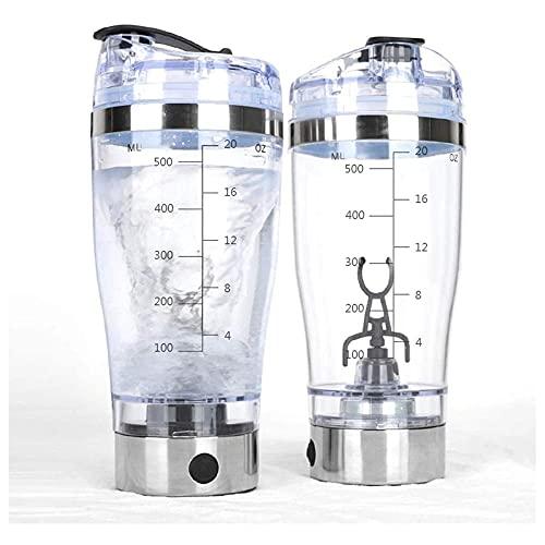 Botella de mezclador recargable con agitador eléctrico de proteínas y cable USB. Fácil limpiar a prueba de agua-BPA gratis - con marca de garrapata, para polvo de proteínas,-Plata_450ml