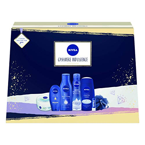 NIVEA Cashmere Indulgence Giftset, Indulgent Gifts for Her with 7 NIVEA Products, Moisturising and Nourishing Gift Set, Contains A Selection of NIVEA Gifts for Women