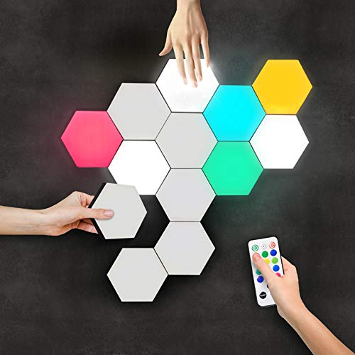 LUMINOSIA Hexagon Lights | Premium Set of LED Wall Lights | Modular, Touch-Sensitive and Remote-Controlled RGB Lighting | Aesthetic Room Decor | Perfect Decoration for Living and Bedroom | 13 Colors