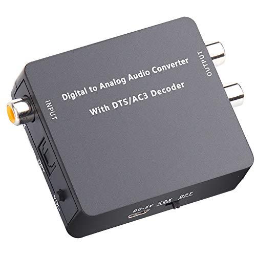 RSGK Convertidor Decodificador De Audio 5.1, Convertidor Digital a Analógico HiFi De 24 bits 192K DAC 5.1CH, DTS AC3 PCM Fibra Coaxial a RCA 3.5MM, Volumen De Salida Estéreo 2.0 Ajustable