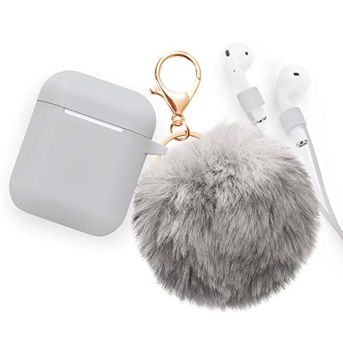 Airpods Accessories - CAMMATE Airpods Silicone Hang Case Cover with Anti-lost Strap, Fur Ball Keychain, Headphone Accessories for Apple Airpod (Gray)
