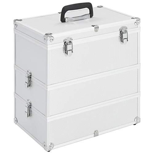 Festnight- Kosmetikkoffer mit 3 abnehmbaren Ebenen Make-up Koffer Kosmetikkoffer Make-up Organizer 37x24x40 cm Silbern Aluminium