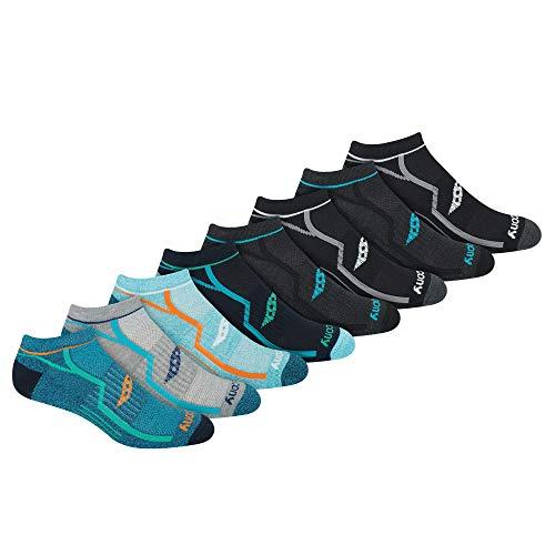 Saucony Men's Performance Comfort Fit Heel Tab Athletic Socks, Dark Assorted (8 Pairs), Shoe Size: 8-12